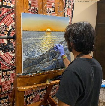 Sunset at the Inlet - painting of Manasquan Inlet by Jersey Shore based artist Jay Alders