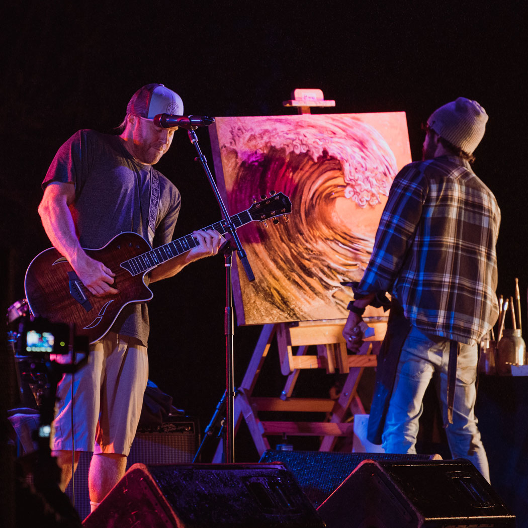Jay Alders live painting with Kyle from Slightly Stoopid