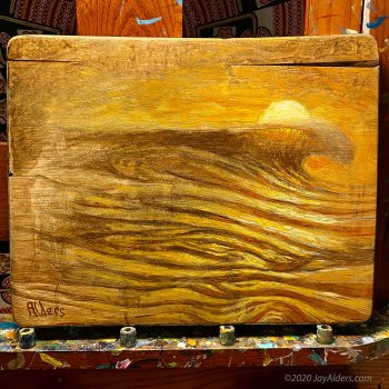 Wave on a Board - Ocean surf painting on a cutting board