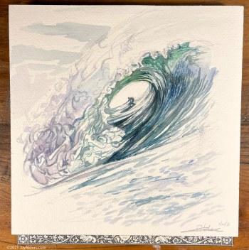 Watercolor modern surf art wave by Jay Alders