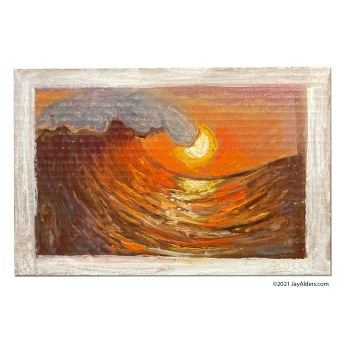 Contemporary Oil Painting of an Ocean Wave at Sunset
