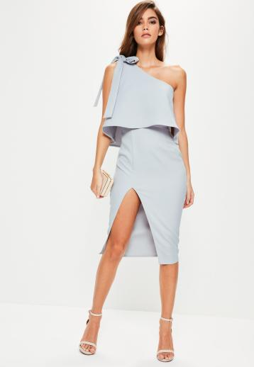 grey-crepe-one-shoulder-bow-sleeve-midi-dress