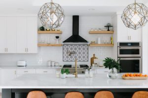 White and brown wooden kitchen island