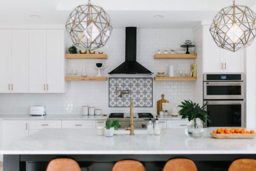 White and brown wooden kitchen island