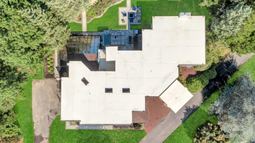 view from above of a house with a flat roof