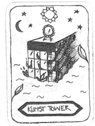 "Kunst Tower, by Mica Inspired by 'The Tower' ""The Kunst tower that I used to believe and also build is burning down with people inside unable to escape. On the top there is a mirror representing themselves and revealing the truth."""