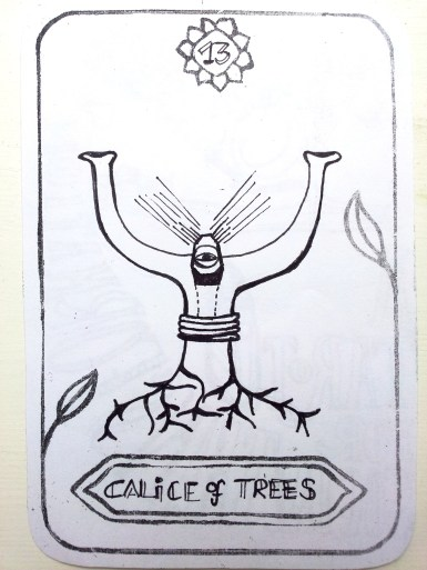 Name: Manu Card Name: Chalice of Trees Creating a safe space for change to happen. Your role is not to act or think. Your role in the world is to hold and leave space at the same time. Connect therefore to the earth, stick your roots deep into the ground, your intuition will shine and guide the way to our collective liberation. May all beings be happy, loving and in peace.