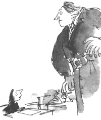 Matilda and Miss Trunchbull, Matilda (Illustration by Quentin Blake)