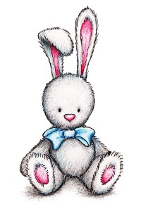 Bunny with Blue Ribbon