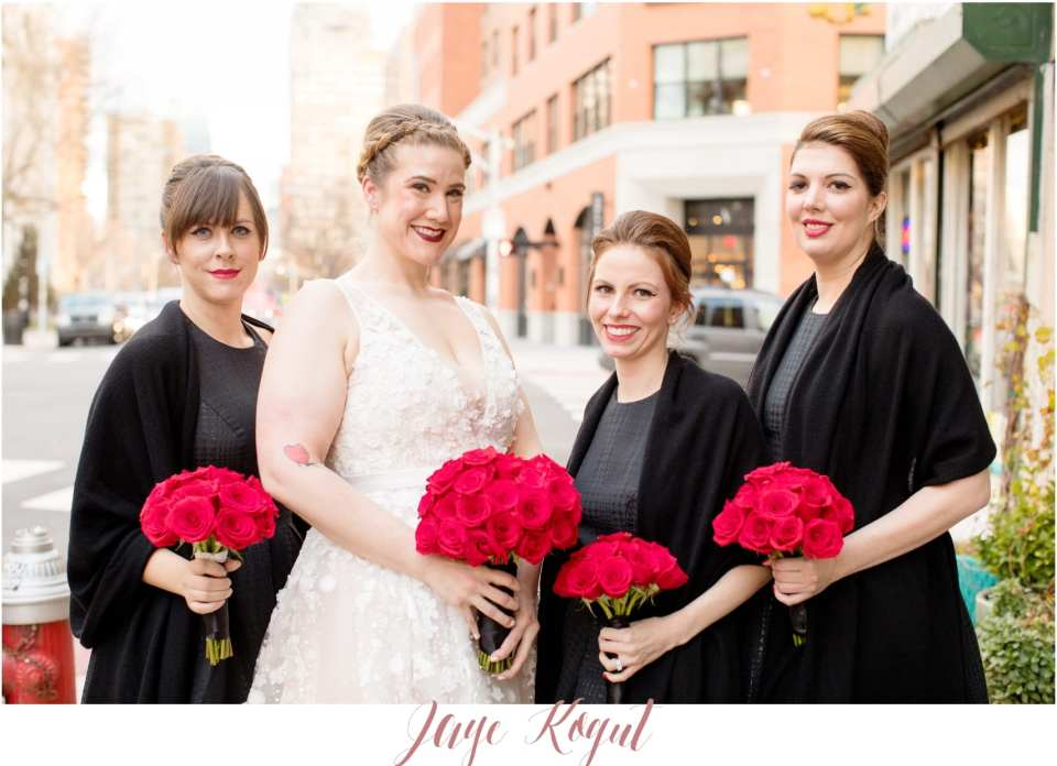 red and black bridesmaid colors