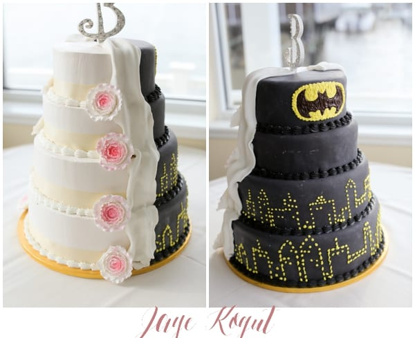 half and half wedding cakes