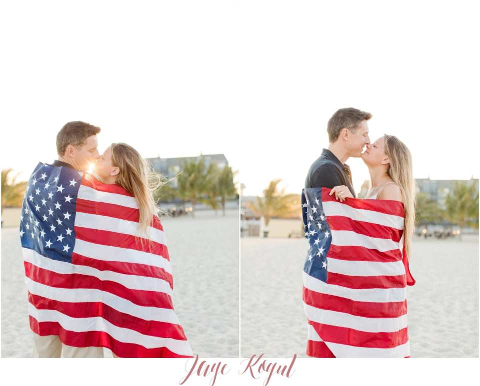 Francesca's engagement session outfit, american flag engagement photos, point pleasant beach engagement photos, fourth of july proposal