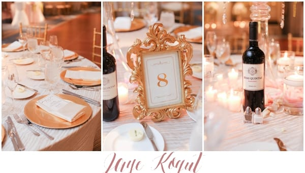gold wedding accents, vintage and romantic table numbers