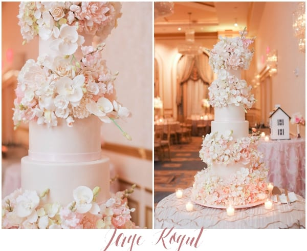 5 tier wedding cake with sugar flowers, NJ wedding venues