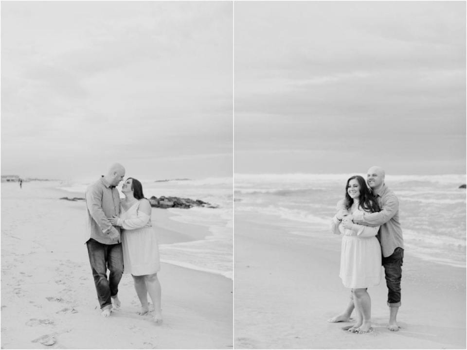 Spring Lake Beach Engagement Photos, candid engagement photos