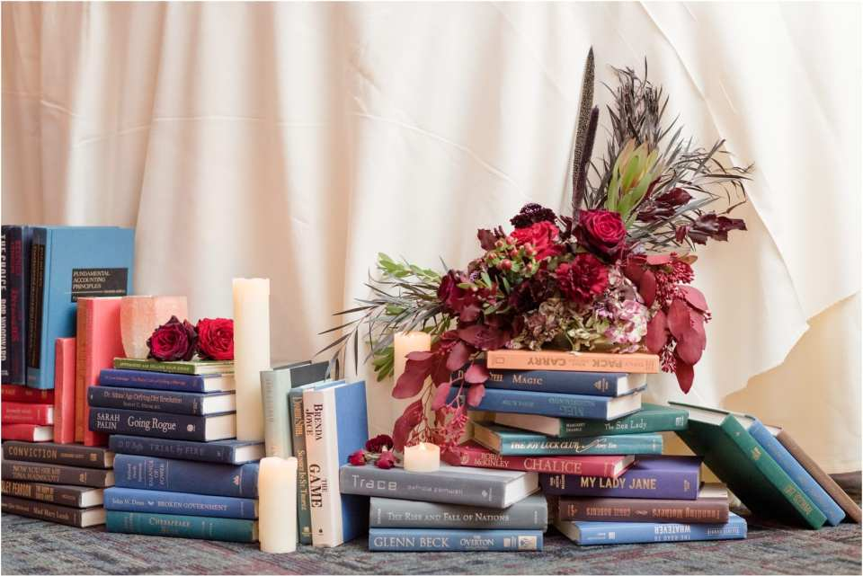 library and book themed wedding
