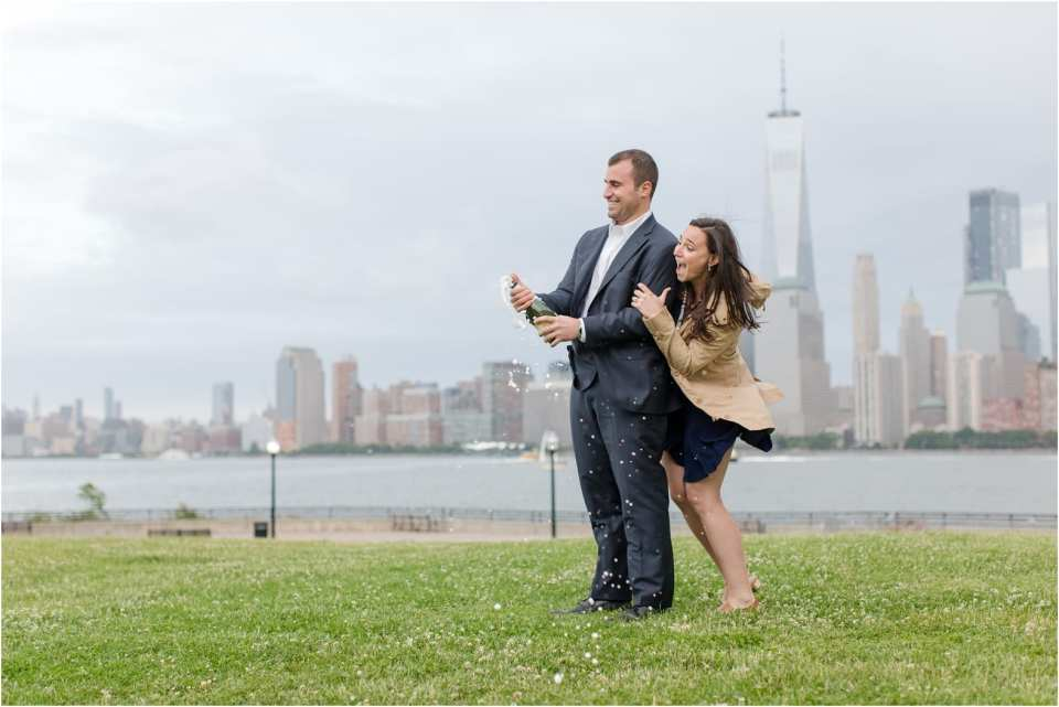 liberty state park engagement photos, pop champagne engagement