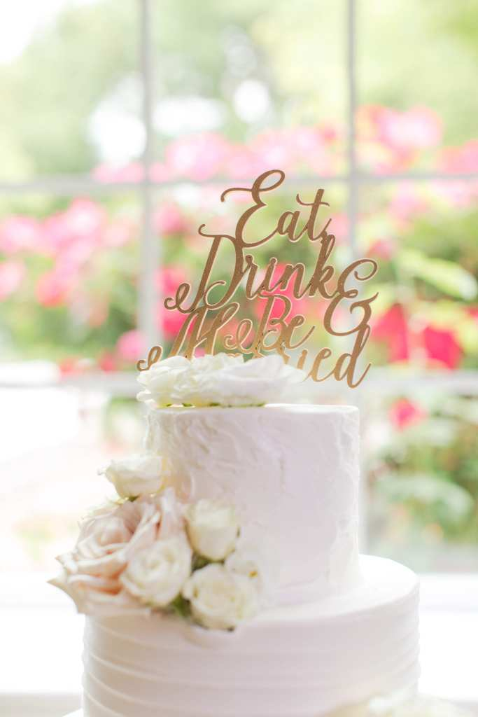 palermo's bakery wedding cakes, calligraphy cake topper, eat drink and be married cake topper