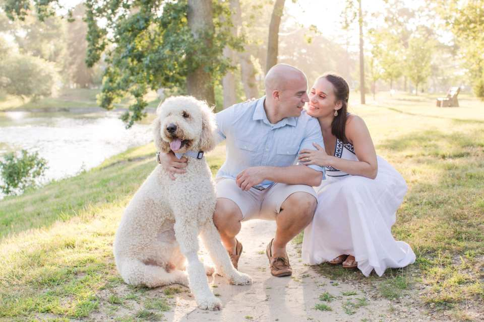 Devine Park engagement photos, dog engagement photos, pet engagement photos, Jersey Shore engagement photos