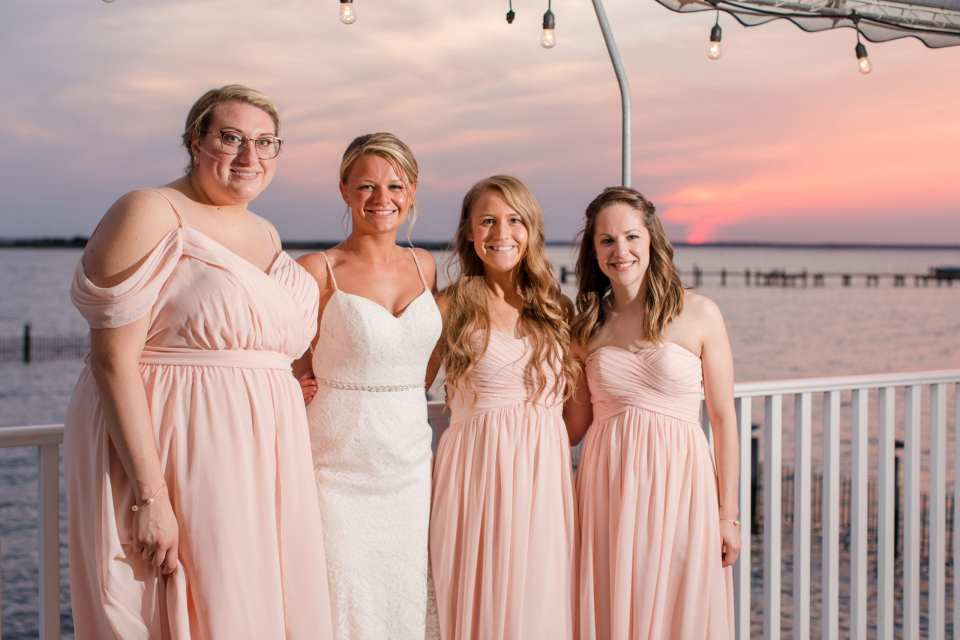 bridal party, pink bridesmaid gowns, NJ shore wedding