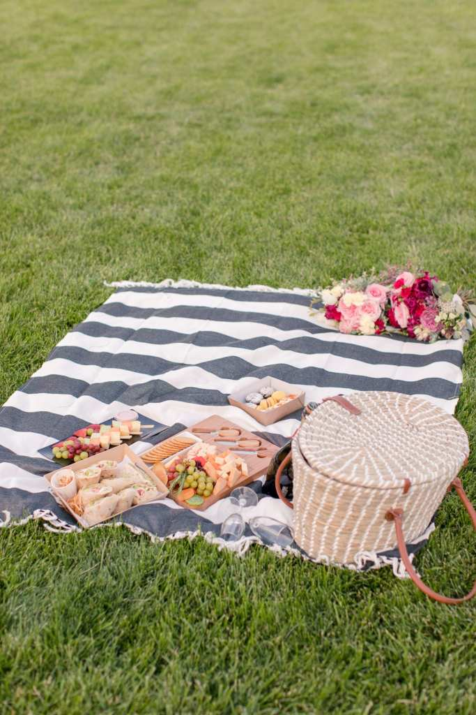 Picnic engagement photo, encore catering