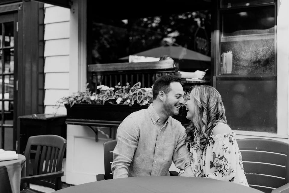 hoboken engagement photo, nj wedding photographer, black and white photo