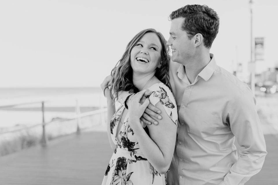 Long Branch engagement photos, NJ engagement photographer, black and white engagement photos, Jersey Shore engagement photos