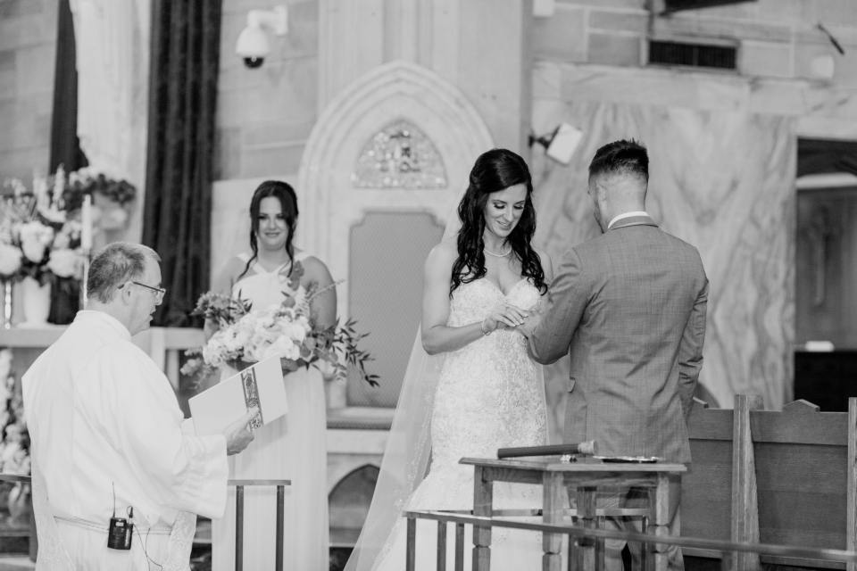 vows, black and white ceremony photo