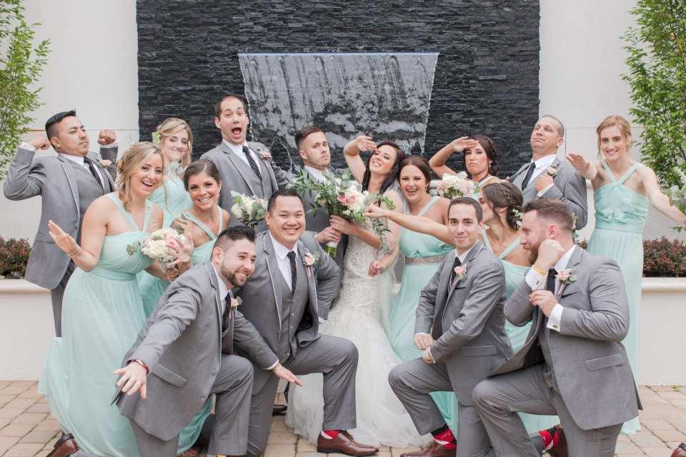 fun wedding party photo, fun grey and mint wedding party photo, NJ wedding photographer