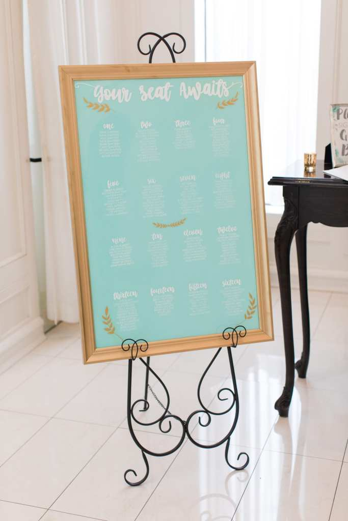 unique wedding reception seating chart, blue mint seating chart, framed wedding reception seating chart