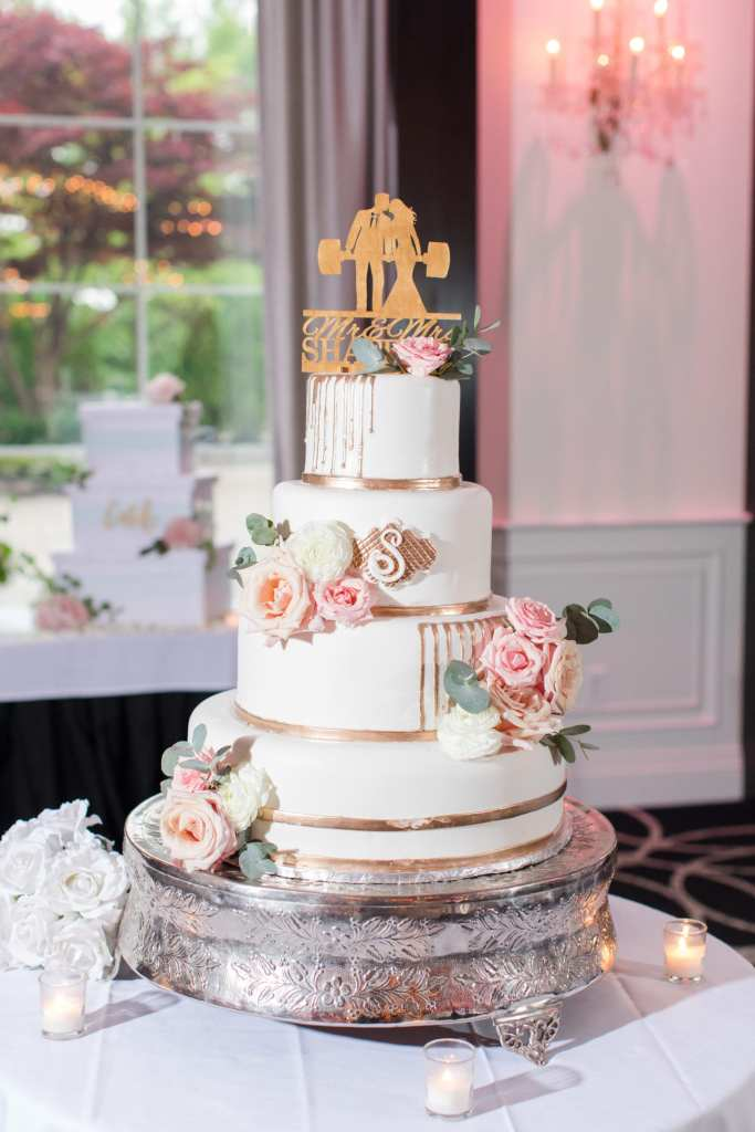 elegant four tier wedding cake, Abbate Bakery wedding cake, blush and gold accented wedding cake