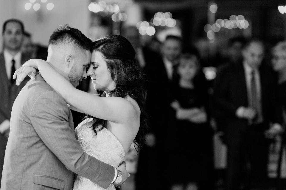 bride groom first dance black and white at the Gramercy at Lakeside Manor by New Jersey wedding photographer
