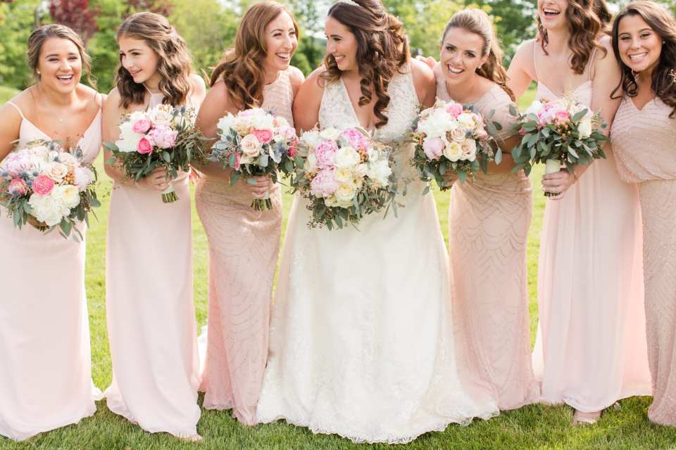 Maggie Sottero Bridal, Bill Levkoff, Bari Jay, Adrianna Papell, Jae Hee Bridal Atelier, The Mane Loft, Bear Brook Valley Weddings, blush bridesmaids gowns, color coordinated bridesmaid gown, rustic bouquets