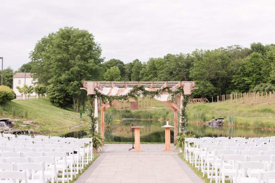 rustic wedding ceremony set up in North Jersey