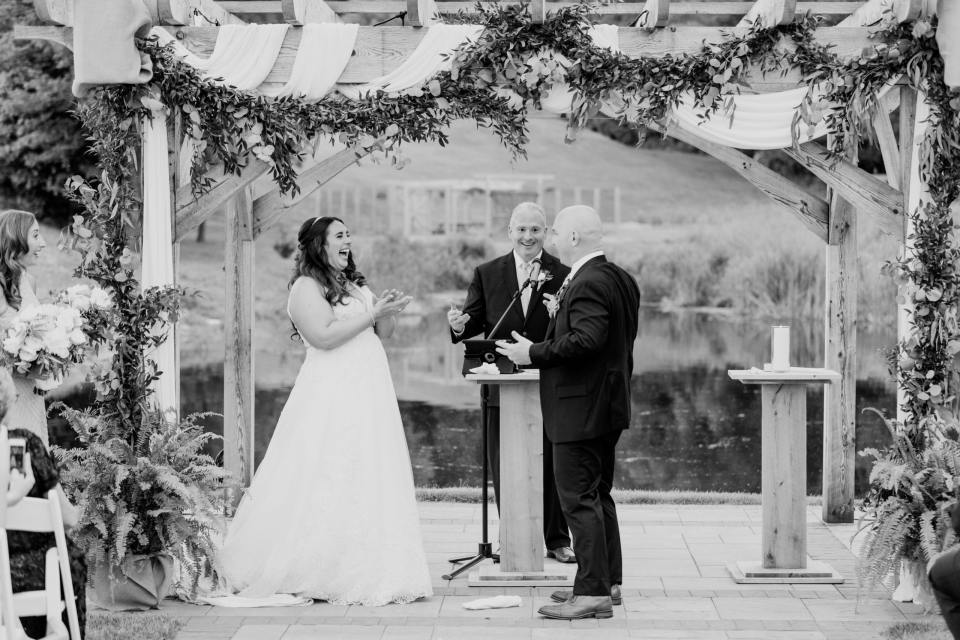 Bear Brook Valley weddings, black and white ceremony photo, New Jersey wedding photographer, pergola ceremony setup, Castiglione events