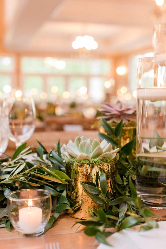 succulents and greenery centerpiece, bear brook valley wedding reception