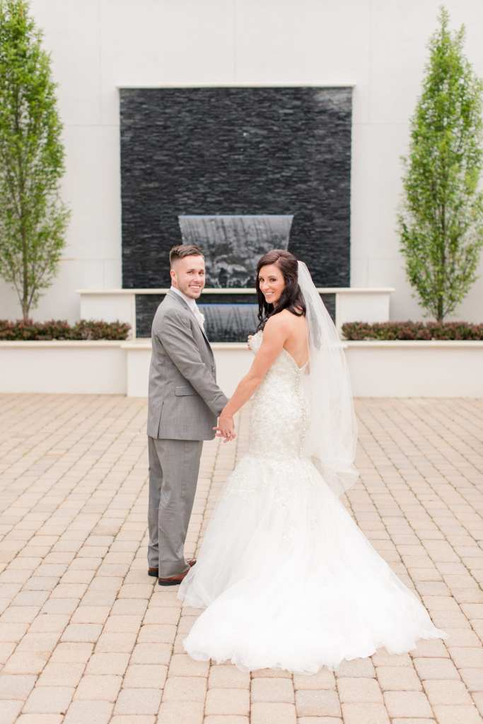 stylish bride and groom at the Gramercy, classy bride and groom at the Gramercy at Lakeside Manor, Allure Bridals wedding gown