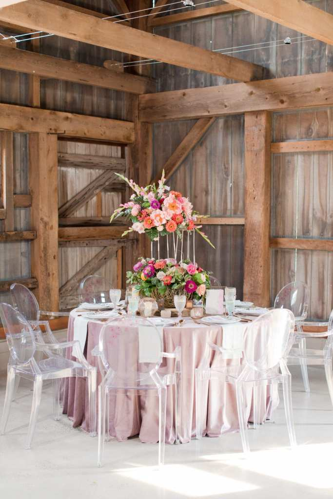 Updike wedding, pink reception, rustic reception, ghost chairs