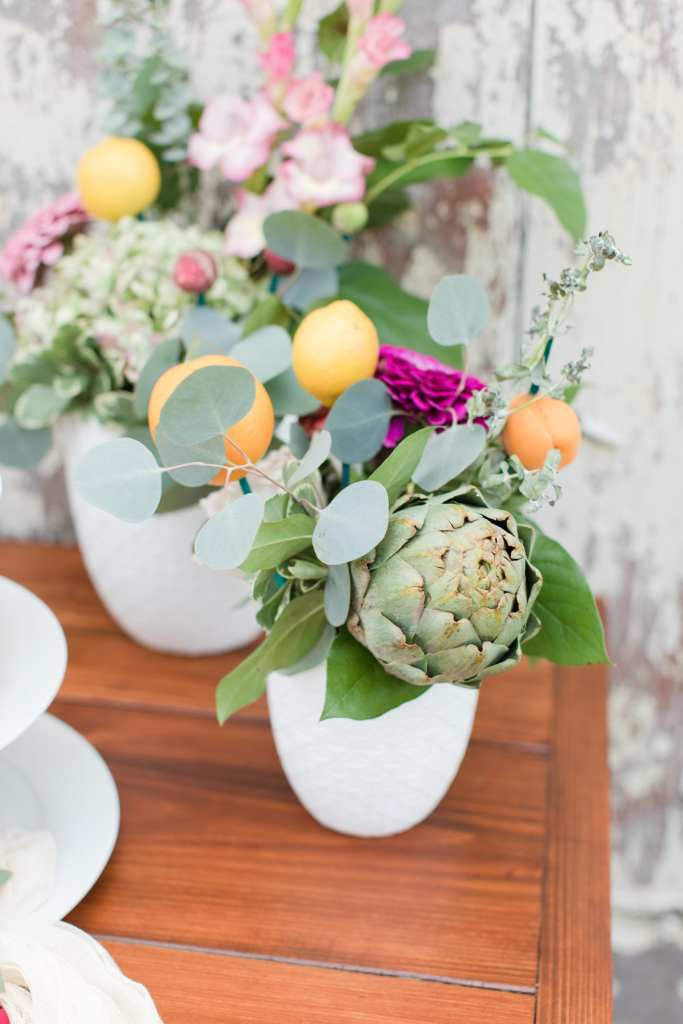 farm to table wedding flower arrangements, vegetable and flower wedding details, artichokes in wedding flowers