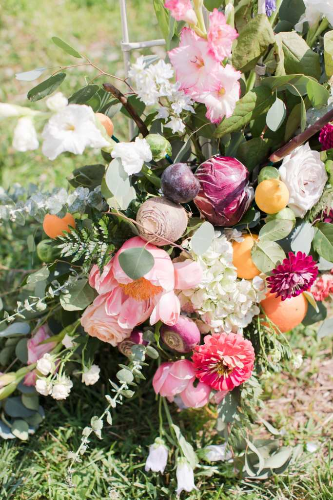 Updike Farmstead wedding, rustic Princeton wedding, vegetable and flower wedding florals