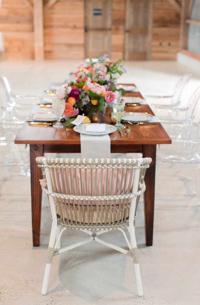 Updike weddings, long table reception table, unique reception chairs