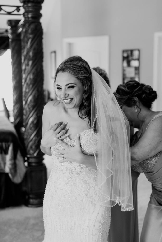 fun bride getting ready photo, black and white bride getting ready photo, Hair by Simple Elegance, Makeup Artistry by Denise
