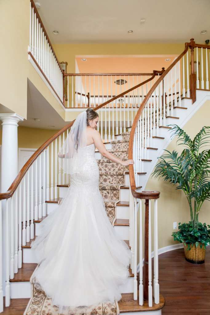 bridal portrait, bridal staircase portrait, KittyChen Couture, New Jersey wedding photographer