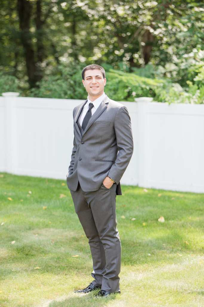 groom portrait, grey groom suit