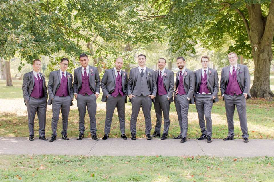 plum and grey groomsmen, Mens Wearhouse, Central New Jersey park