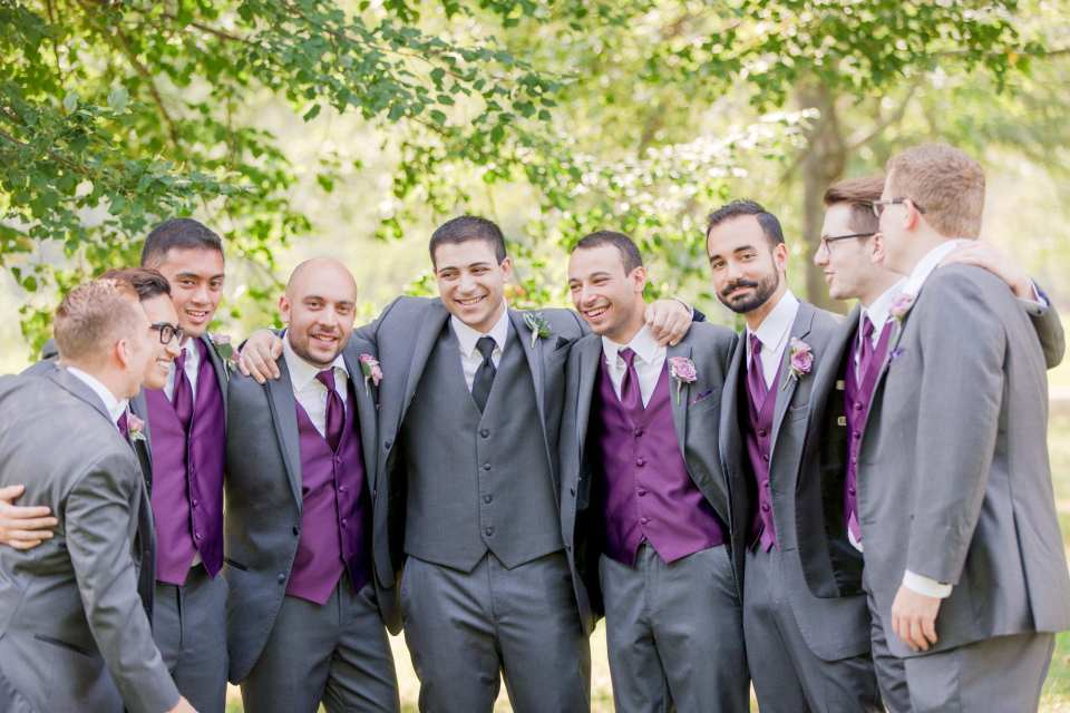 plum purple grey groomsmen, laid back groomsmen photo, Central NJ weddings, NJ wedding photographer