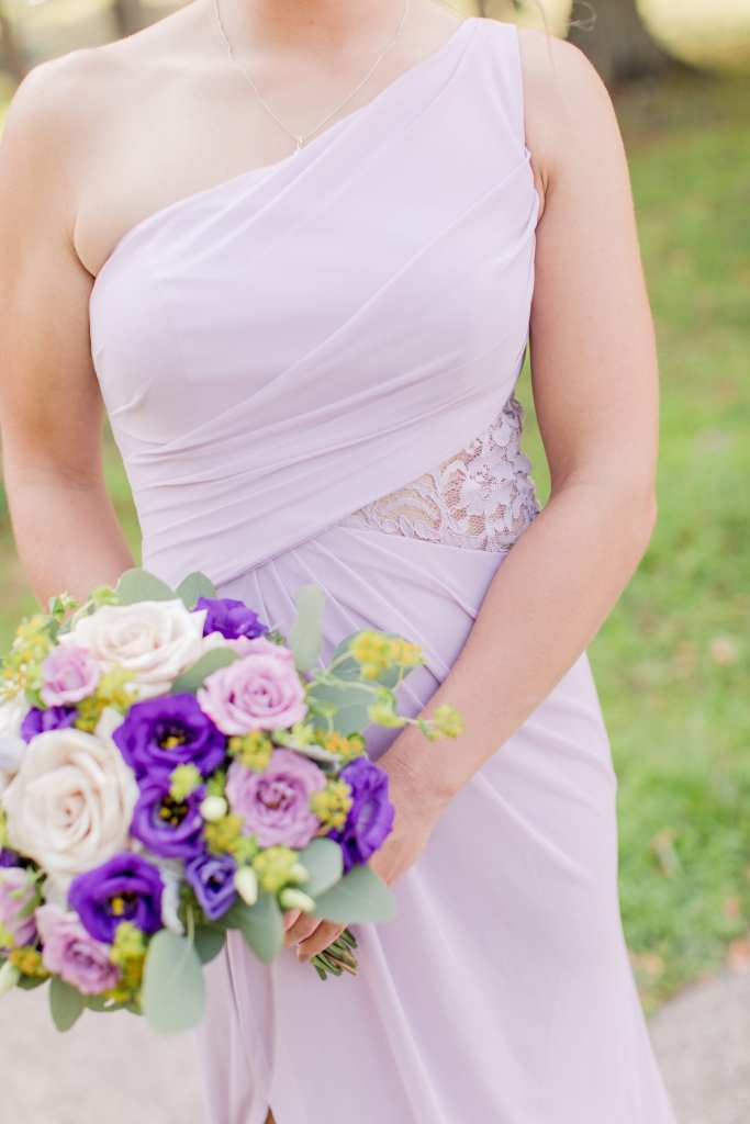 lavender bridesmaids dress, classic bridal bouquet, tricolor rose bridal bouquet, lavender chiffon bridesmaid gown