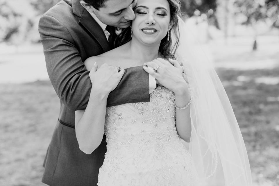 bride and groom portrait, black and white bride and groom, Divine Park Spring Lake