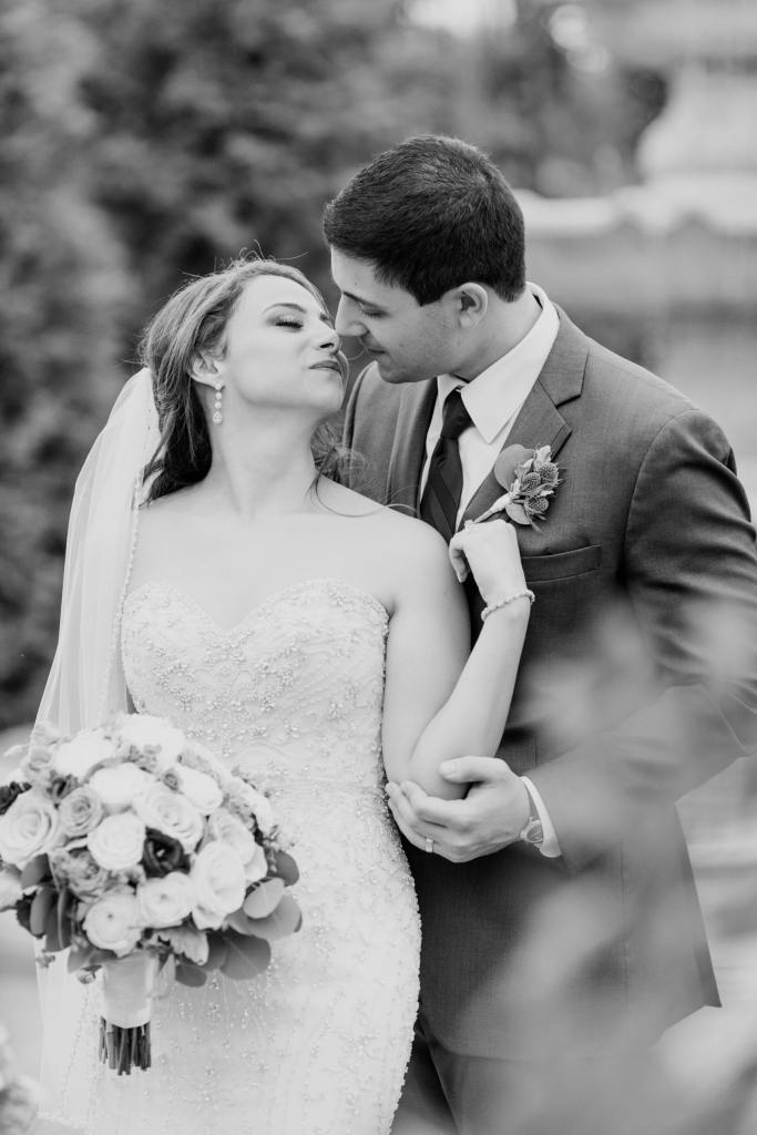 tender moment between bride and groom, black and white photo, NJ wedding photographer