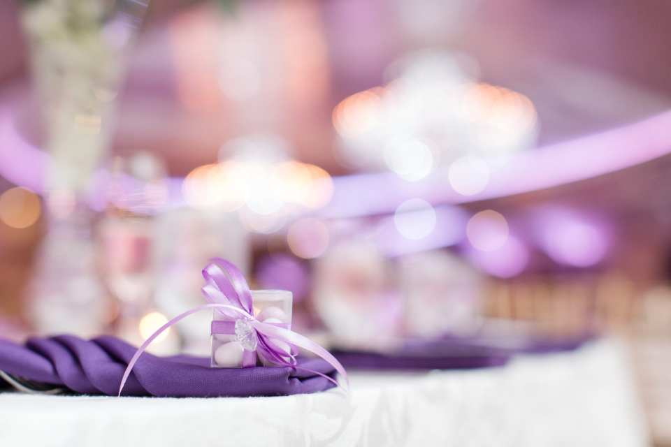almonds, traditional wedding favor, purple wedding details